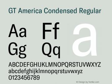 GT America Condensed Regular Version 5.001;PS 005.001;hotconv 1.0.88;makeotf.lib2.5.64775图片样张