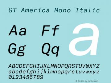 GT America Mono Regular Italic Version 2.001;PS 002.001;hotconv 1.0.88;makeotf.lib2.5.64775图片样张