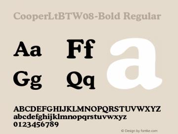 Cooper Lt BT W08 Bold Version 1.00图片样张