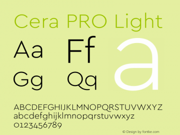 Cera PRO Light Version 1.001;PS 001.001;hotconv 1.0.70;makeotf.lib2.5.58329图片样张