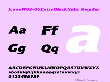 Icone W02 86 Extra Black Italic Version 1.01图片样张