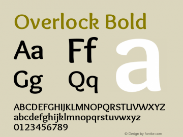 Overlock Bold Version 1.001 Font Sample