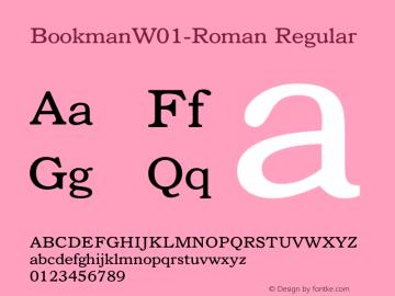 Bookman W01 Roman Version 1.00 Font Sample