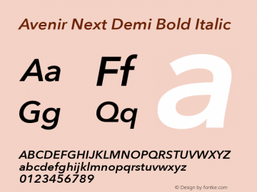 Avenir Next Demi Bold Italic 8.0d2e1图片样张