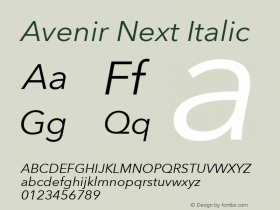 Avenir Next Italic 8.0d2e1图片样张
