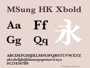 MSung HK Xbold 图片样张