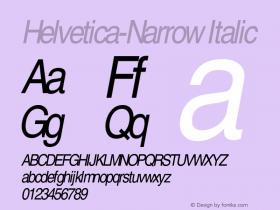 Helvetica-Narrow Italic OTF 1.0;PS 003.000;Core 1.0.22 Font Sample