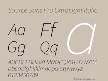 Source Sans Pro ExtraLight Italic Version 1.076;PS 2.000;hotconv 1.0.86;makeotf.lib2.5.63406图片样张
