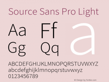 Source Sans Pro Light Version 2.021;PS 2.000;hotconv 1.0.86;makeotf.lib2.5.63406图片样张