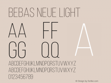 BebasNeueLight Version 001.003图片样张