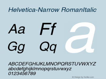 Helvetica-Narrow RomanItalic Version 1.00 Font Sample