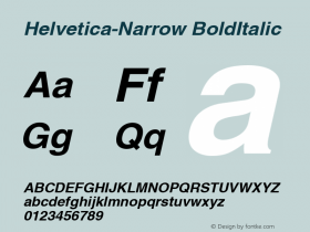 Helvetica-Narrow BoldItalic Version 1.00 Font Sample