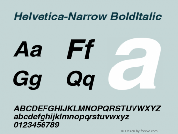 Helvetica-Narrow BoldItalic Version 1.00 Font Sample