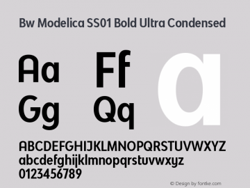 Bw Modelica SS01 Bold Ultra Condensed Version 2.000;PS 002.000;hotconv 1.0.88;makeotf.lib2.5.64775图片样张