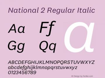 National 2 Regular Italic Regular Version 0.001;PS 0.1;hotconv 1.0.72;makeotf.lib2.5.5900 DEVELOPMENT;0图片样张