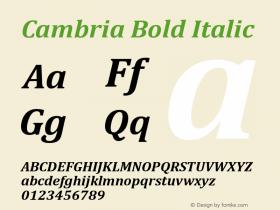 Cambria Bold Italic Version 5.97图片样张