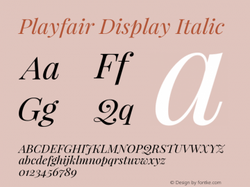 Playfair Display Italic Version 1.003;PS 001.003;hotconv 1.0.70;makeotf.lib2.5.58329; ttfautohint (v0.93) -l 42 -r 42 -G 200 -x 14 -w