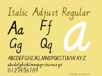 Italic Adjust Version 1.00 August 2, 2014, initial release图片样张