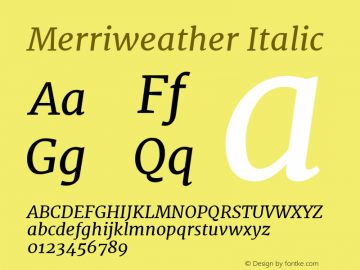 Merriweather Italic Version 1.584; ttfautohint (v1.5) -l 6 -r 36 -G 0 -x 10 -H 350 -D latn -f cyrl -w