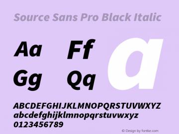 Source Sans Pro Black Italic Version 1.050;PS Version 1.000;hotconv 1.0.70;makeotf.lib2.5.5900图片样张