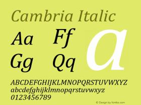 Cambria Italic Version 6.98图片样张