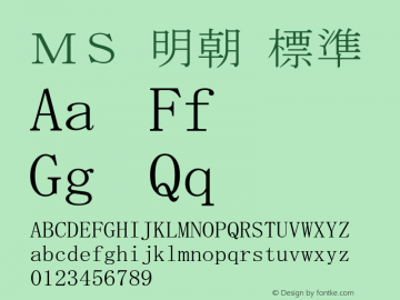 MS 明朝 Version 5.11图片样张