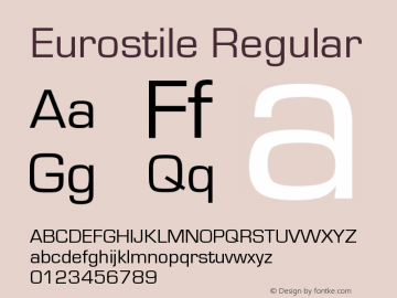 Eurostile Version 1.000;PS 1.00;hotconv 1.0.57;makeotf.lib2.0.21895图片样张