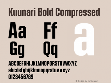 Kuunari Bold Compressed Version 1.000;PS 001.000;hotconv 1.0.88;makeotf.lib2.5.64775图片样张
