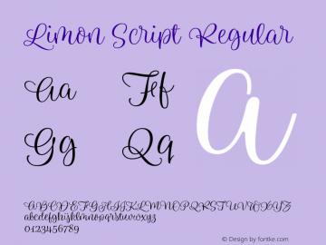 Limon Script Regular Version 1.00, SI, April 5, 2017, initial release图片样张