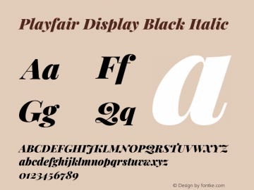 Playfair Display Black Italic Version 1.200;PS 001.200;hotconv 1.0.88;makeotf.lib2.5.64775图片样张