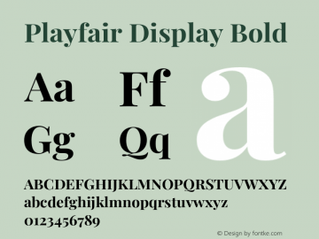 Playfair Display Bold Version 1.200;PS 001.200;hotconv 1.0.88;makeotf.lib2.5.64775图片样张