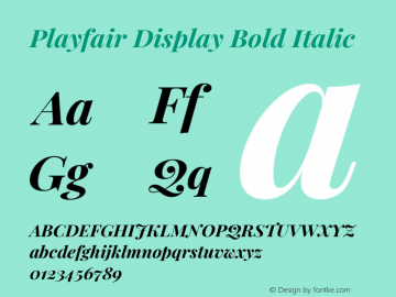 Playfair Display Bold Italic Version 1.200; ttfautohint (v1.6)图片样张