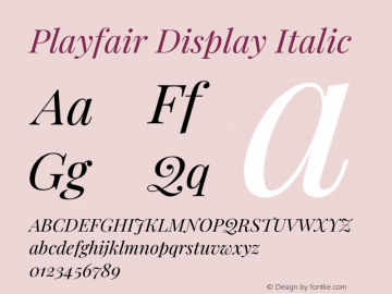 Playfair Display Italic Version 1.200;PS 001.200;hotconv 1.0.88;makeotf.lib2.5.64775图片样张