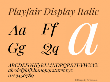 Playfair Display Italic Version 1.200; ttfautohint (v1.6)图片样张