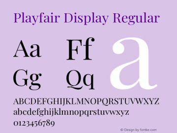 Playfair Display Regular Version 1.200;PS 001.200;hotconv 1.0.88;makeotf.lib2.5.64775图片样张