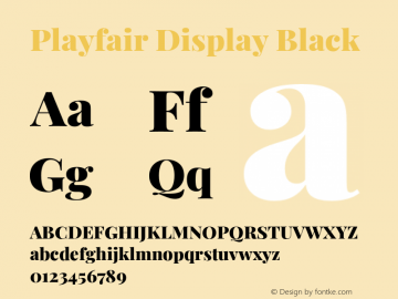 Playfair Display Black Version 1.201;PS 001.201;hotconv 1.0.88;makeotf.lib2.5.64775图片样张