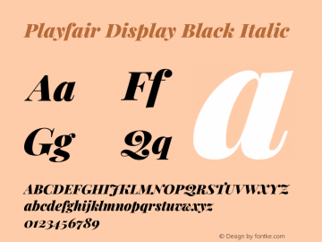 Playfair Display Black Italic Version 1.201;PS 001.201;hotconv 1.0.88;makeotf.lib2.5.64775图片样张