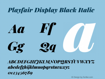 Playfair Display Black Italic Version 1.201; ttfautohint (v1.6)图片样张