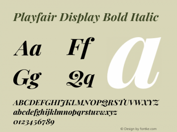 Playfair Display Bold Italic Version 1.201;PS 001.201;hotconv 1.0.88;makeotf.lib2.5.64775图片样张
