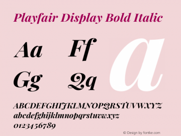Playfair Display Bold Italic Version 1.201; ttfautohint (v1.6)图片样张