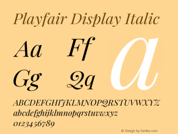Playfair Display Italic Version 1.201;PS 001.201;hotconv 1.0.88;makeotf.lib2.5.64775图片样张