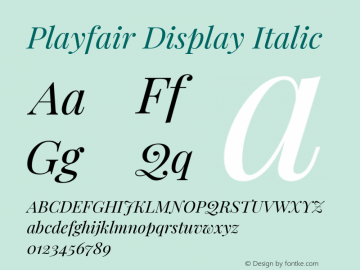 Playfair Display Italic Version 1.201; ttfautohint (v1.6)图片样张