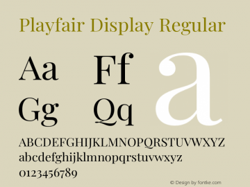 Playfair Display Regular Version 1.201;PS 001.201;hotconv 1.0.88;makeotf.lib2.5.64775图片样张