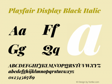 Playfair Display Black Italic Version 1.202; ttfautohint (v1.6)图片样张