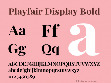 Playfair Display Bold Version 1.202; ttfautohint (v1.6)图片样张