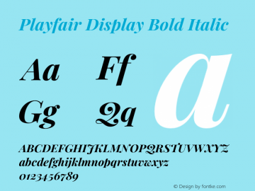 Playfair Display Bold Italic Version 1.202;PS 001.202;hotconv 1.0.88;makeotf.lib2.5.64775图片样张