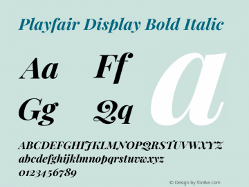 Playfair Display Bold Italic Version 1.202; ttfautohint (v1.6)图片样张