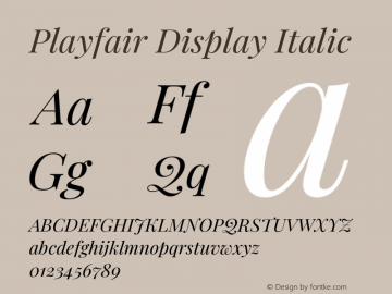 Playfair Display Italic Version 1.202;PS 001.202;hotconv 1.0.88;makeotf.lib2.5.64775图片样张