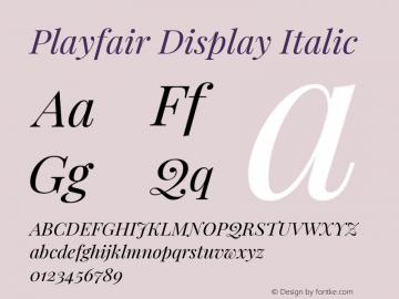 Playfair Display Italic Version 1.202; ttfautohint (v1.6)图片样张