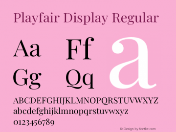 Playfair Display Regular Version 1.202;PS 001.202;hotconv 1.0.88;makeotf.lib2.5.64775图片样张